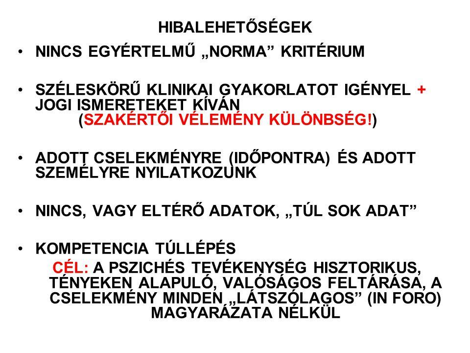 """HIBALEHETŐSÉGEK NINCS EGYÉRTELMŰ """"NORMA"""" KRITÉRIUM SZÉLESKÖRŰ KLINIKAI GYAKORLATOT IGÉNYEL + JOGI ISMERETEKET KÍVÁN (SZAKÉRTŐI VÉLEMÉNY KÜLÖNBSÉG!) AD"""