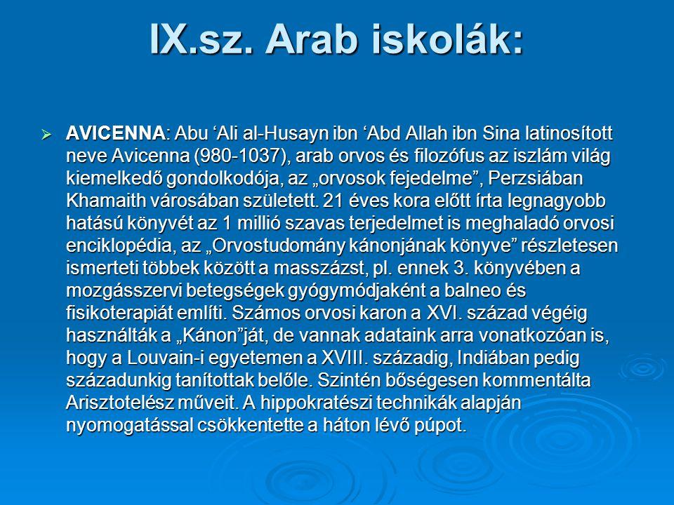 IX.sz. Arab iskolák:  AVICENNA: Abu 'Ali al-Husayn ibn 'Abd Allah ibn Sina latinosított neve Avicenna (980-1037), arab orvos és filozófus az iszlám v