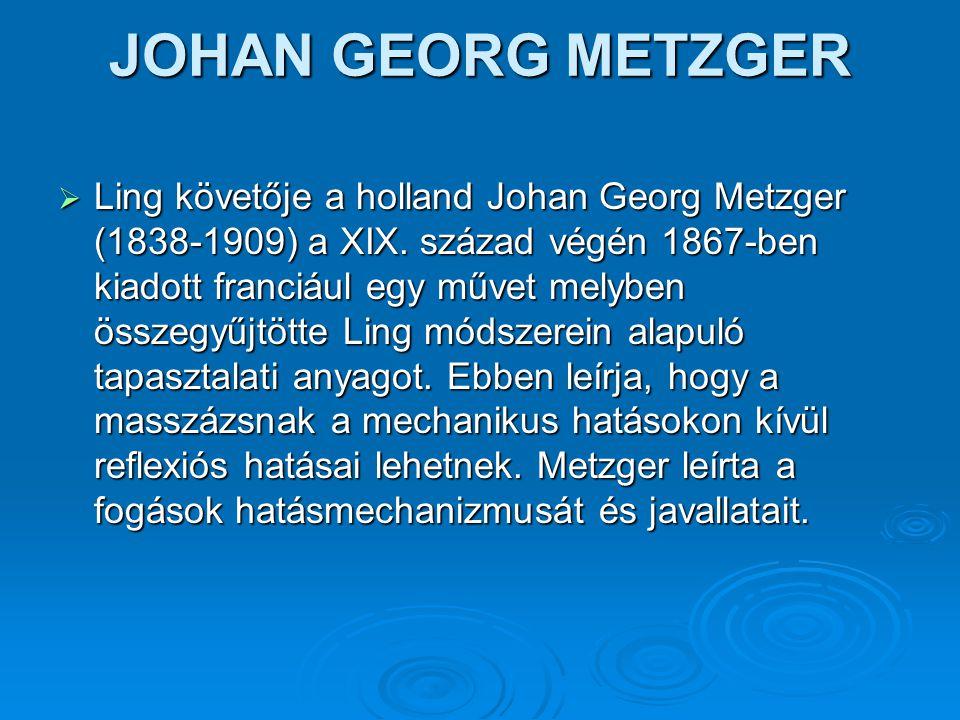 JOHAN GEORG METZGER  Ling követője a holland Johan Georg Metzger (1838-1909) a XIX. század végén 1867-ben kiadott franciául egy művet melyben összegy