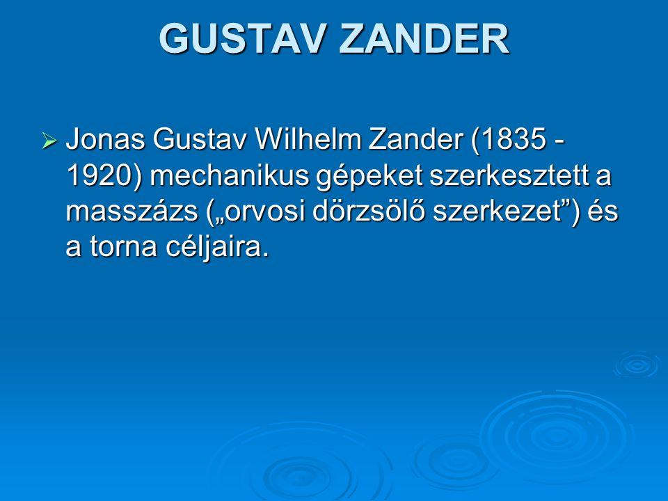"""GUSTAV ZANDER  Jonas Gustav Wilhelm Zander (1835 - 1920) mechanikus gépeket szerkesztett a masszázs (""""orvosi dörzsölő szerkezet"""") és a torna céljaira"""
