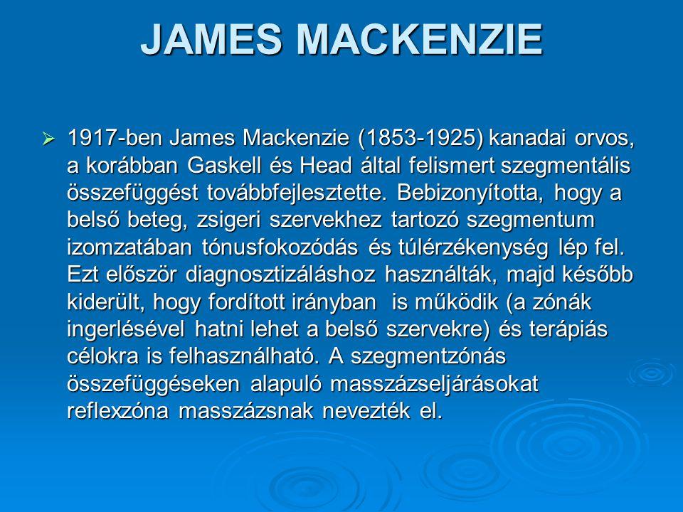 JAMES MACKENZIE  1917-ben James Mackenzie (1853-1925) kanadai orvos, a korábban Gaskell és Head által felismert szegmentális összefüggést továbbfejle