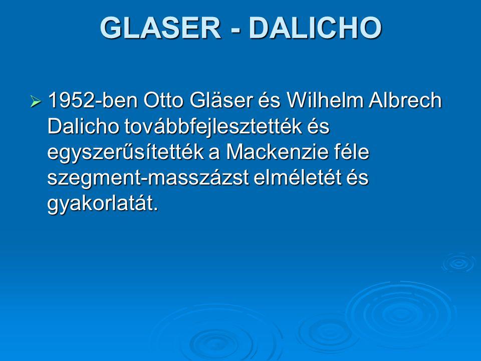 GLASER - DALICHO  1952-ben Otto Gläser és Wilhelm Albrech Dalicho továbbfejlesztették és egyszerűsítették a Mackenzie féle szegment-masszázst elmélet