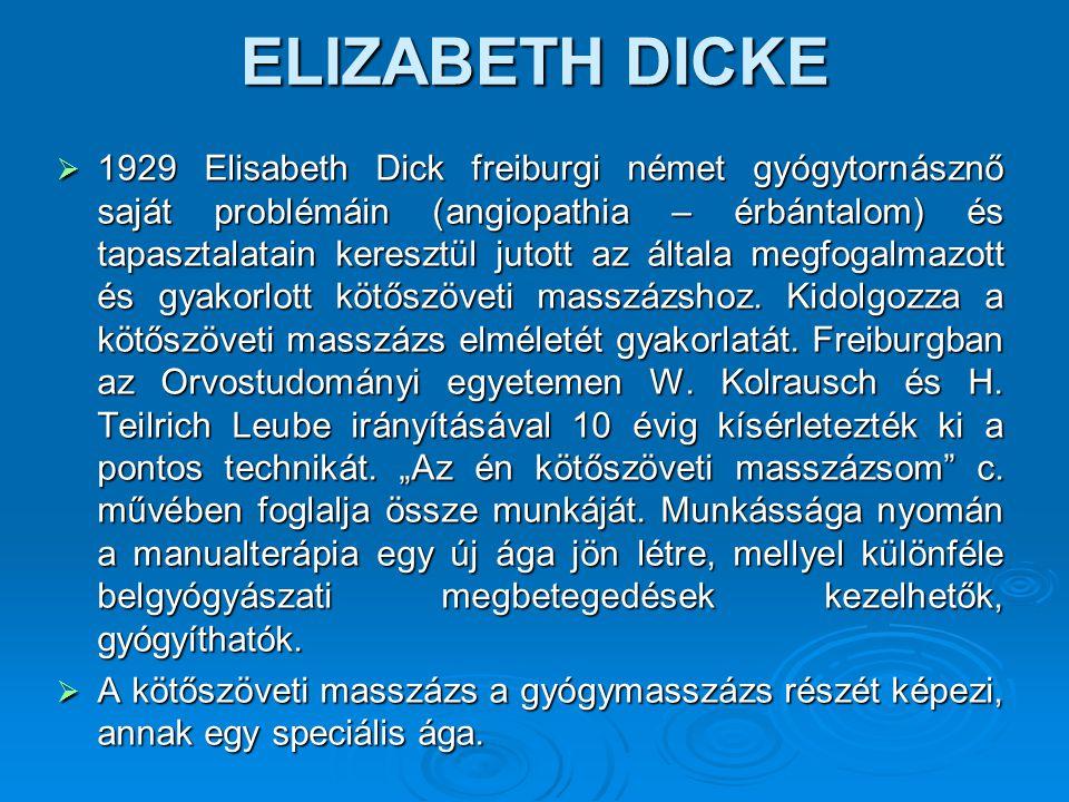 ELIZABETH DICKE  1929 Elisabeth Dick freiburgi német gyógytornásznő saját problémáin (angiopathia – érbántalom) és tapasztalatain keresztül jutott az