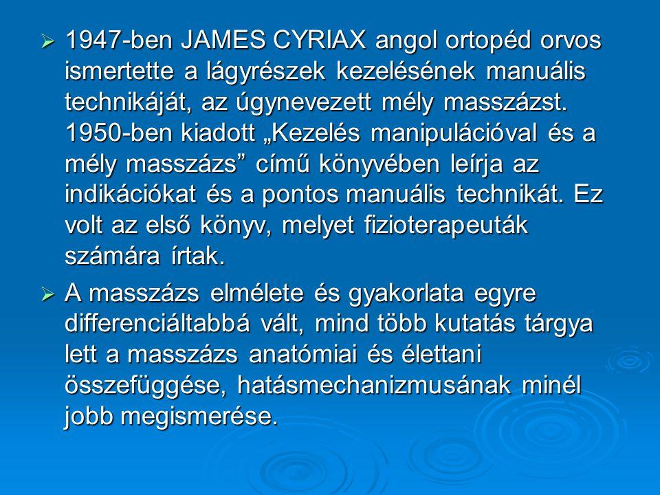  1947-ben JAMES CYRIAX angol ortopéd orvos ismertette a lágyrészek kezelésének manuális technikáját, az úgynevezett mély masszázst. 1950-ben kiadott