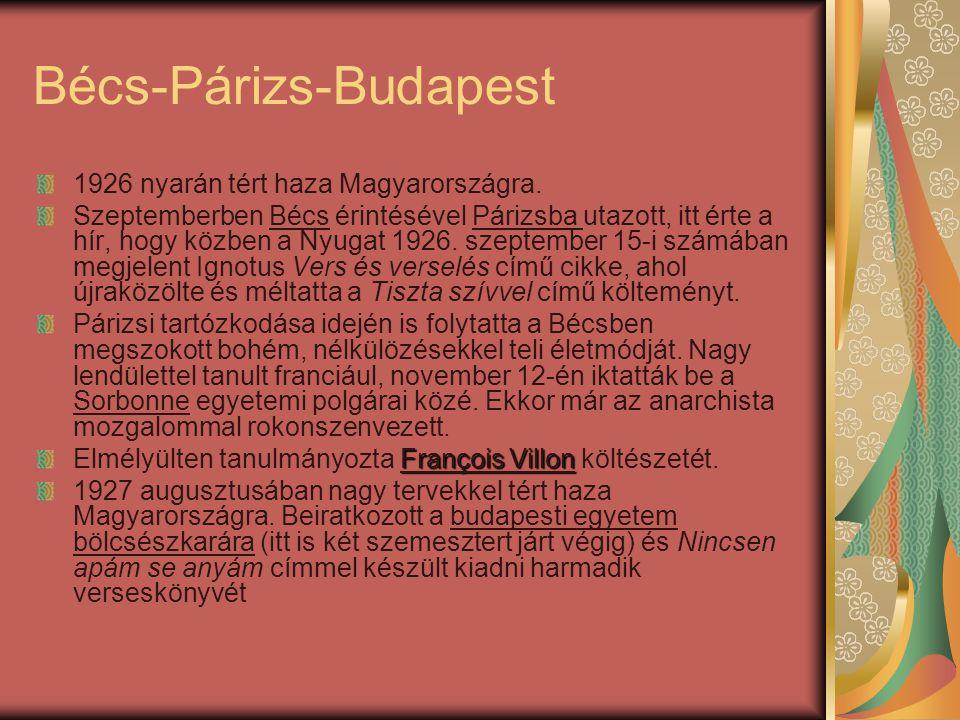 Bécs-Párizs-Budapest 1926 nyarán tért haza Magyarországra.