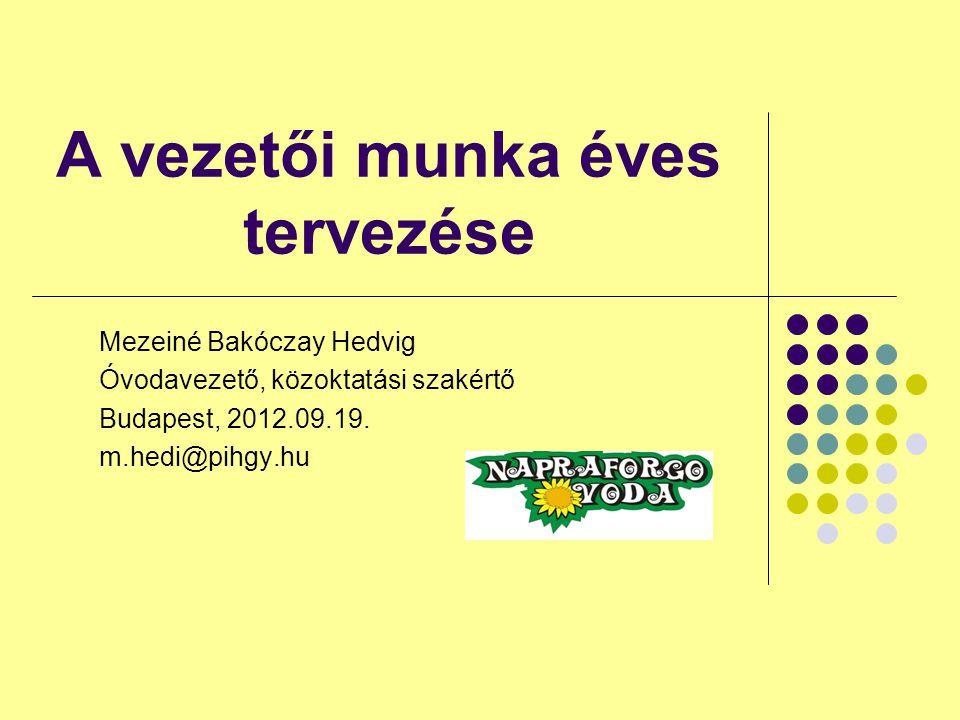A vezetői munka éves tervezése Mezeiné Bakóczay Hedvig Óvodavezető, közoktatási szakértő Budapest, 2012.09.19. m.hedi@pihgy.hu
