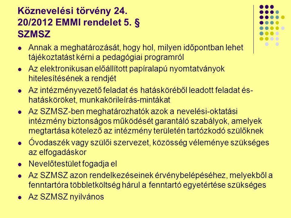 Köznevelési törvény 24. 20/2012 EMMI rendelet 5. § SZMSZ Annak a meghatározását, hogy hol, milyen időpontban lehet tájékoztatást kérni a pedagógiai pr
