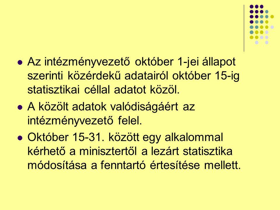 Az intézményvezető október 1-jei állapot szerinti közérdekű adatairól október 15-ig statisztikai céllal adatot közöl. A közölt adatok valódiságáért az