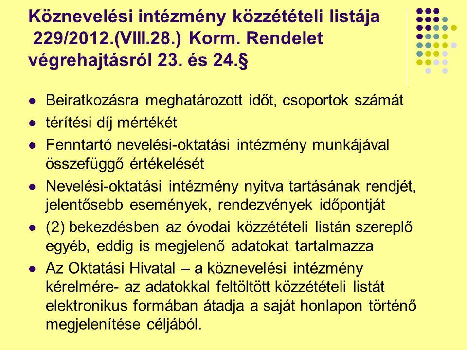 Köznevelési intézmény közzétételi listája 229/2012.(VIII.28.) Korm. Rendelet végrehajtásról 23. és 24.§ Beiratkozásra meghatározott időt, csoportok sz