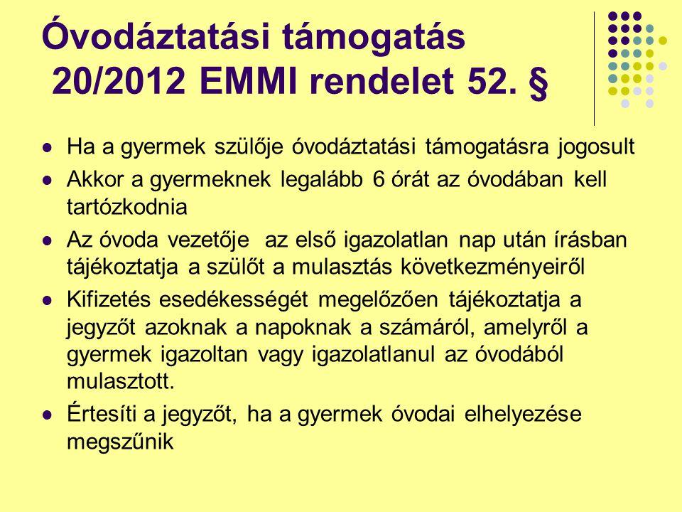 Óvodáztatási támogatás 20/2012 EMMI rendelet 52. § Ha a gyermek szülője óvodáztatási támogatásra jogosult Akkor a gyermeknek legalább 6 órát az óvodáb