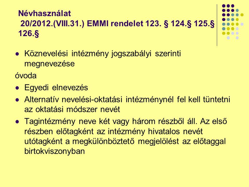 Névhasználat 20/2012.(VIII.31.) EMMI rendelet 123. § 124.§ 125.§ 126.§ Köznevelési intézmény jogszabályi szerinti megnevezése óvoda Egyedi elnevezés A