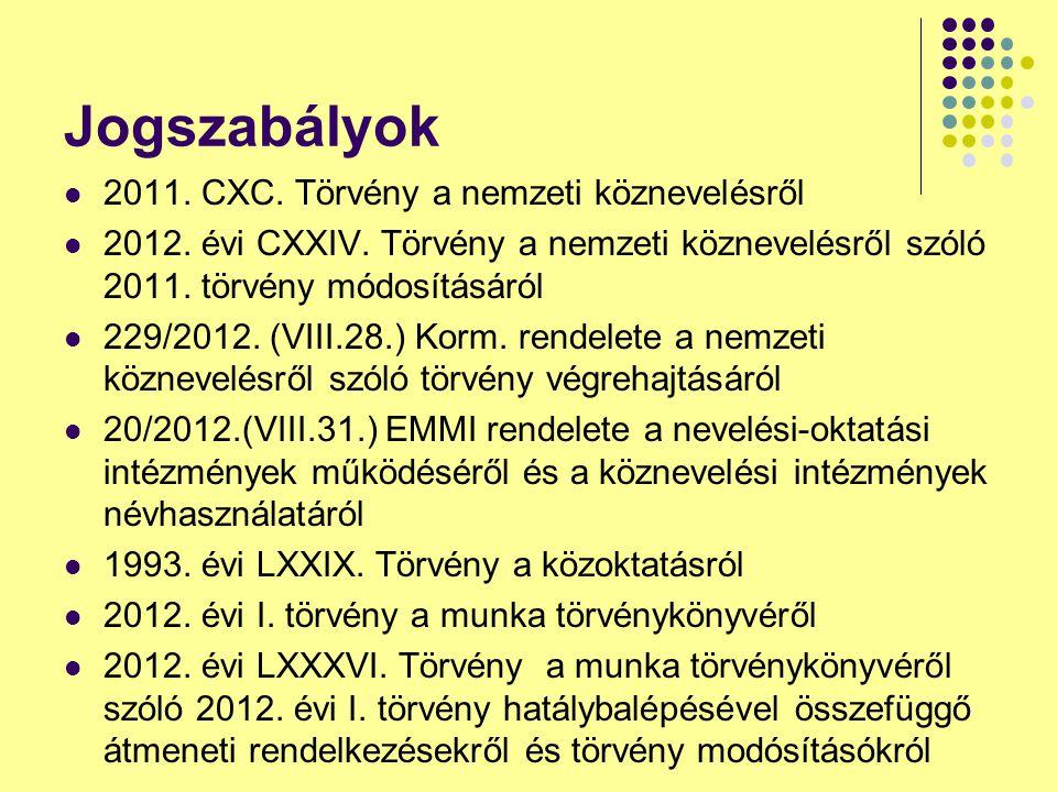 Jogszabályok 2011. CXC. Törvény a nemzeti köznevelésről 2012. évi CXXIV. Törvény a nemzeti köznevelésről szóló 2011. törvény módosításáról 229/2012. (