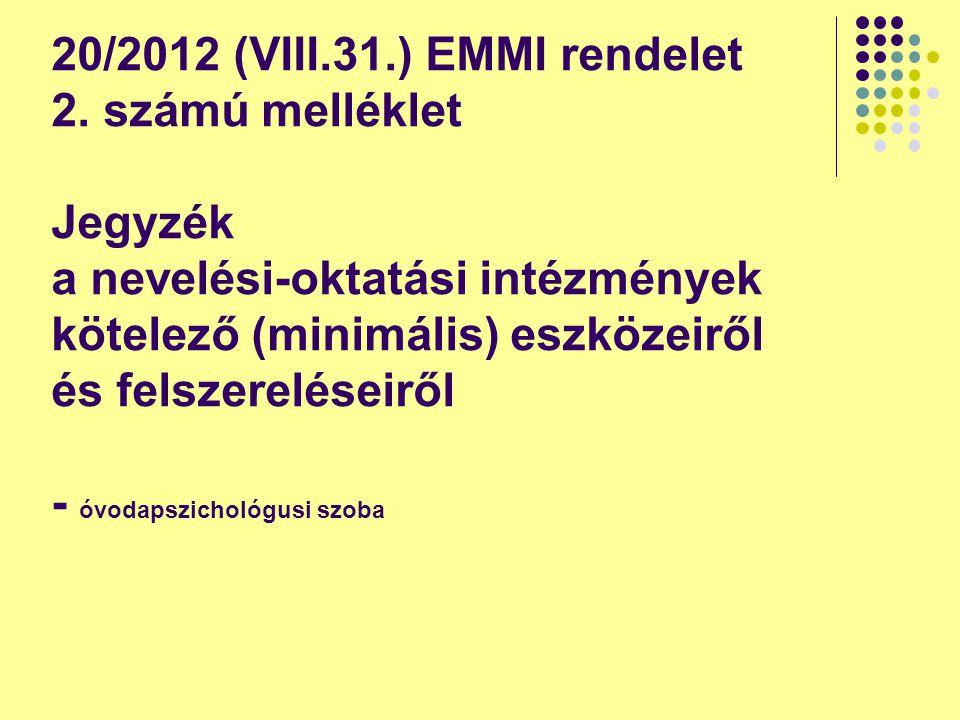 20/2012 (VIII.31.) EMMI rendelet 2. számú melléklet Jegyzék a nevelési-oktatási intézmények kötelező (minimális) eszközeiről és felszereléseiről - óvo