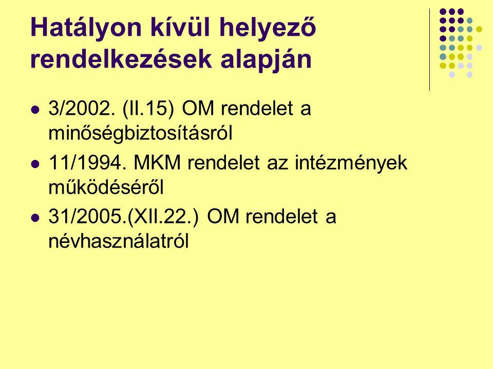 Egyéb Magyarország címerének elhelyezése a címtáblán kötelező Változó munkahely helyett a konkrét cím megjelölése kinevezésekben Határozott idejű kinevezés ismét 5 évre Fegyelmi felelősségre vonás megszűnt