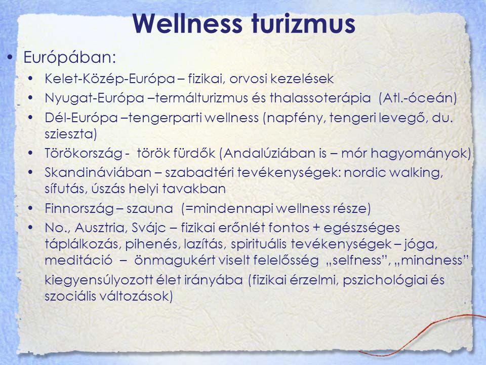 Wellness turizmus Európában: Kelet-Közép-Európa – fizikai, orvosi kezelések Nyugat-Európa –termálturizmus és thalassoterápia (Atl.-óceán) Dél-Európa –tengerparti wellness (napfény, tengeri levegő, du.