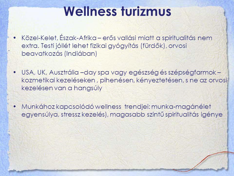 Wellness turizmus Közel-Kelet, Észak-Afrika – erős vallási miatt a spiritualitás nem extra. Testi jóllét lehet fizikai gyógyítás (fürdők), orvosi beav