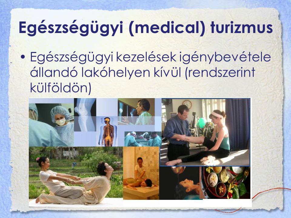 Egészségügyi (medical) turizmus Egészségügyi kezelések igénybevétele állandó lakóhelyen kívül (rendszerint külföldön)