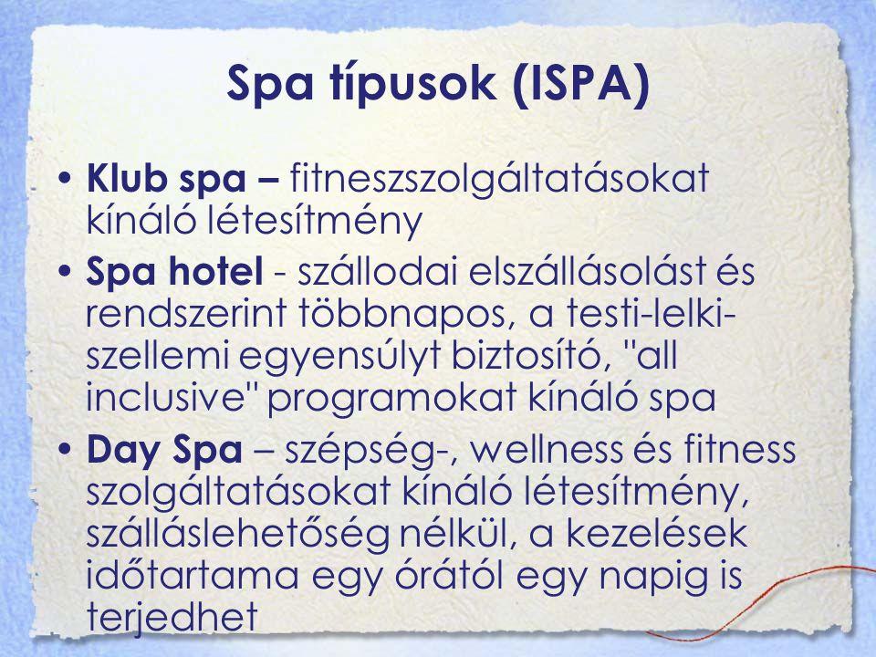 Spa típusok (ISPA) Klub spa – fitneszszolgáltatásokat kínáló létesítmény Spa hotel - szállodai elszállásolást és rendszerint többnapos, a testi-lelki- szellemi egyensúlyt biztosító, all inclusive programokat kínáló spa Day Spa – szépség-, wellness és fitness szolgáltatásokat kínáló létesítmény, szálláslehetőség nélkül, a kezelések időtartama egy órától egy napig is terjedhet