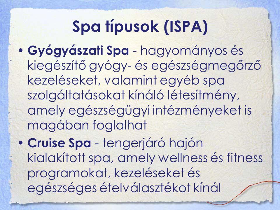 Spa típusok (ISPA) Gyógyászati Spa - hagyományos és kiegészítő gyógy- és egészségmegőrző kezeléseket, valamint egyéb spa szolgáltatásokat kínáló létesítmény, amely egészségügyi intézményeket is magában foglalhat Cruise Spa - tengerjáró hajón kialakított spa, amely wellness és fitness programokat, kezeléseket és egészséges ételválasztékot kínál