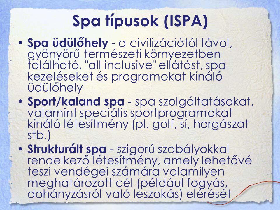 Spa típusok (ISPA) Spa üdülőhely - a civilizációtól távol, gyönyörű természeti környezetben található, all inclusive ellátást, spa kezeléseket és programokat kínáló üdülőhely Sport/kaland spa - spa szolgáltatásokat, valamint speciális sportprogramokat kínáló létesítmény (pl.