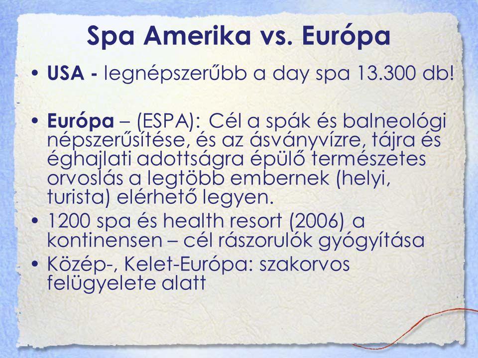 Spa Amerika vs. Európa USA - legnépszerűbb a day spa 13.300 db! Európa – (ESPA): Cél a spák és balneológi népszerűsítése, és az ásványvízre, tájra és