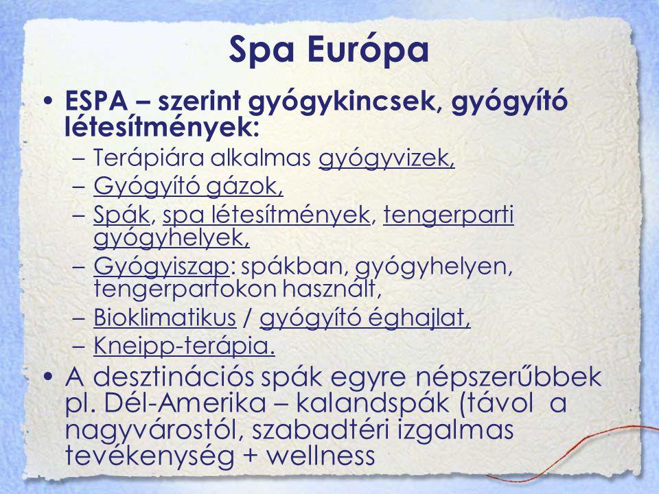 Spa Európa ESPA – szerint gyógykincsek, gyógyító létesítmények: –Terápiára alkalmas gyógyvizek, –Gyógyító gázok, –Spák, spa létesítmények, tengerparti gyógyhelyek, –Gyógyiszap: spákban, gyógyhelyen, tengerpartokon használt, –Bioklimatikus / gyógyító éghajlat, –Kneipp-terápia.