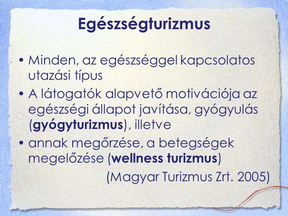 Egészségturizmus Minden, az egészséggel kapcsolatos utazási típus A látogatók alapvető motivációja az egészségi állapot javítása, gyógyulás ( gyógyturizmus ), illetve annak megőrzése, a betegségek megelőzése ( wellness turizmus ) (Magyar Turizmus Zrt.