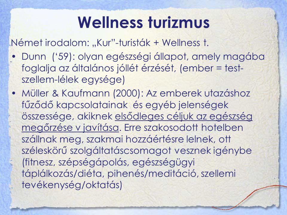 """Wellness turizmus Német irodalom: """"Kur""""-turisták + Wellness t. Dunn ('59): olyan egészségi állapot, amely magába foglalja az általános jóllét érzését,"""