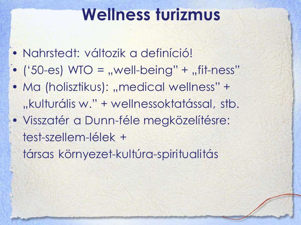 """Wellness turizmus Nahrstedt: változik a definíció! ('50-es) WTO = """"well-being"""" + """"fit-ness"""" Ma (holisztikus): """"medical wellness"""" + """"kulturális w."""" + w"""