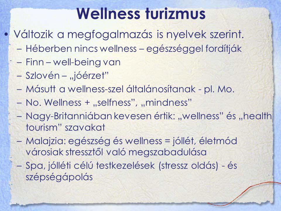"""Wellness turizmus Változik a megfogalmazás is nyelvek szerint. –Héberben nincs wellness – egészséggel fordítják –Finn – well-being van –Szlovén – """"jóé"""