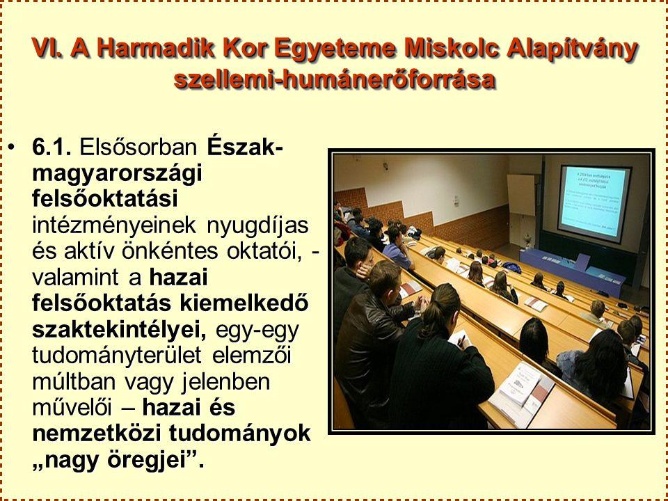VI. A Harmadik Kor Egyeteme Miskolc Alapítvány szellemi-humánerőforrása 6.1. Elsősorban Észak- magyarországi felsőoktatási intézményeinek nyugdíjas és