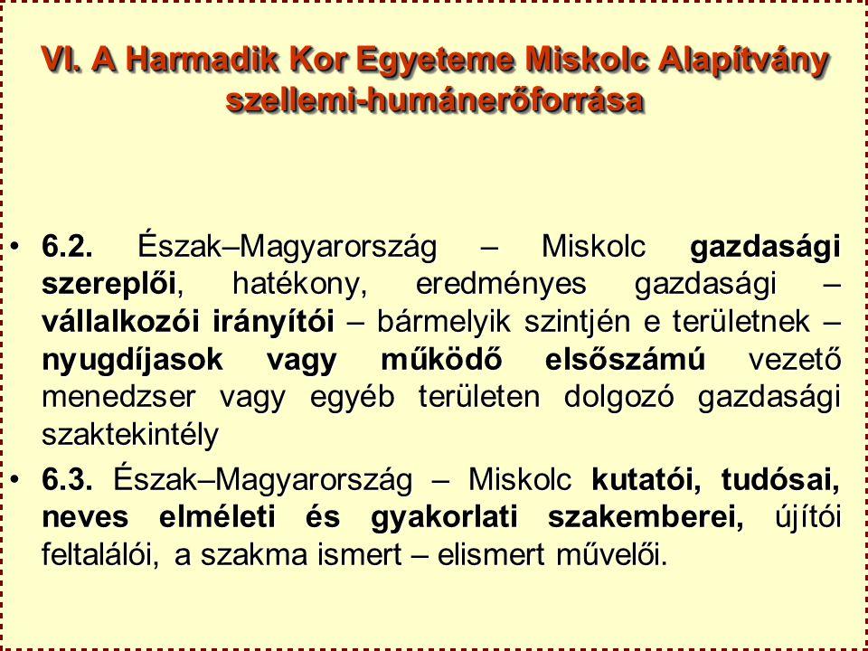 VI. A Harmadik Kor Egyeteme Miskolc Alapítvány szellemi-humánerőforrása 6.2. Észak–Magyarország – Miskolc gazdasági szereplői, hatékony, eredményes ga