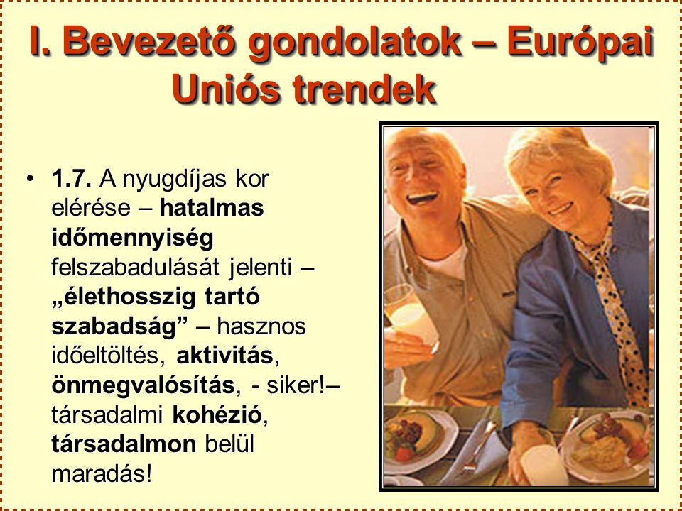 """I. Bevezető gondolatok – Európai Uniós trendek 1.7. A nyugdíjas kor elérése – hatalmas időmennyiség felszabadulását jelenti – """"élethosszig tartó szaba"""