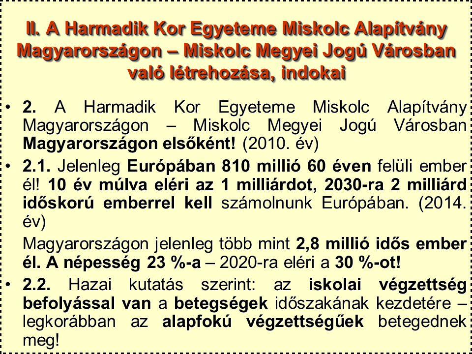 II. A Harmadik Kor Egyeteme Miskolc Alapítvány Magyarországon – Miskolc Megyei Jogú Városban való létrehozása, indokai 2. A Harmadik Kor Egyeteme Misk