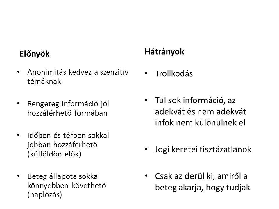 Előnyök Anonimitás kedvez a szenzitív témáknak Rengeteg információ jól hozzáférhető formában Időben és térben sokkal jobban hozzáférhető (külföldön élők) Beteg állapota sokkal könnyebben követhető (naplózás) Hátrányok Trollkodás Túl sok információ, az adekvát és nem adekvát infok nem különülnek el Jogi keretei tisztázatlanok Csak az derül ki, amiről a beteg akarja, hogy tudjak