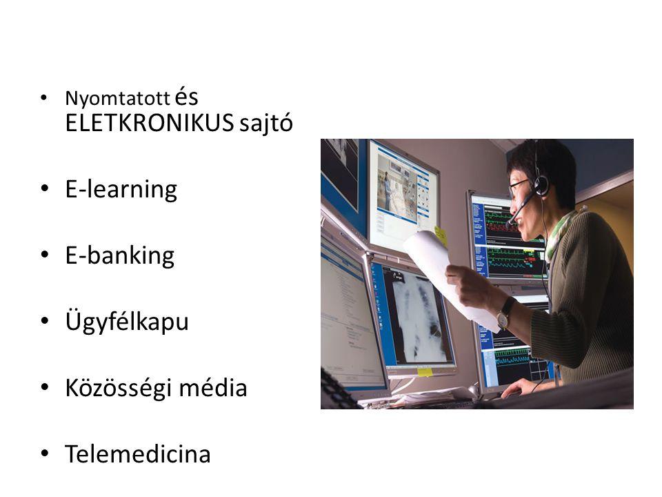 Nyomtatott és ELETKRONIKUS sajtó E-learning E-banking Ügyfélkapu Közösségi média Telemedicina