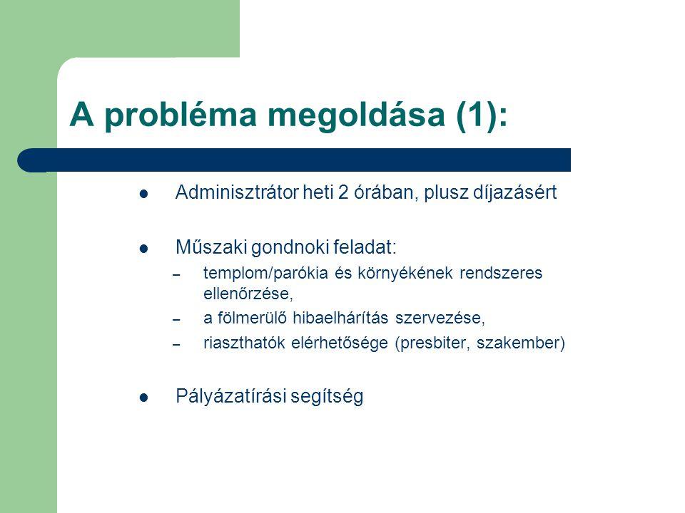 A probléma megoldása (1): Adminisztrátor heti 2 órában, plusz díjazásért Műszaki gondnoki feladat: – templom/parókia és környékének rendszeres ellenőrzése, – a fölmerülő hibaelhárítás szervezése, – riaszthatók elérhetősége (presbiter, szakember) Pályázatírási segítség