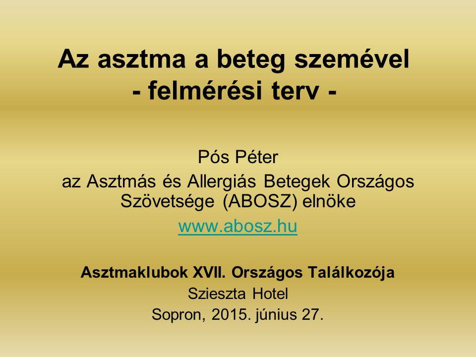 Az asztma a beteg szemével - felmérési terv - Pós Péter az Asztmás és Allergiás Betegek Országos Szövetsége (ABOSZ) elnöke www.abosz.hu Asztmaklubok X