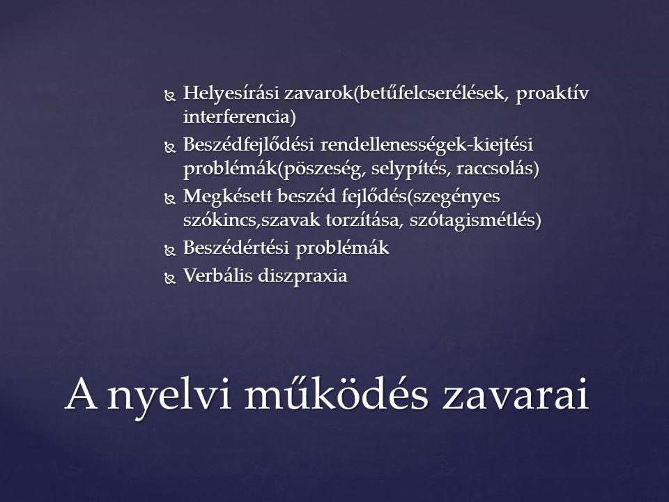 Helyesírási zavarok(betűfelcserélések, proaktív interferencia)  Beszédfejlődési rendellenességek-kiejtési problémák(pöszeség, selypítés, raccsolás)  Megkésett beszéd fejlődés(szegényes szókincs,szavak torzítása, szótagismétlés)  Beszédértési problémák  Verbális diszpraxia A nyelvi működés zavarai