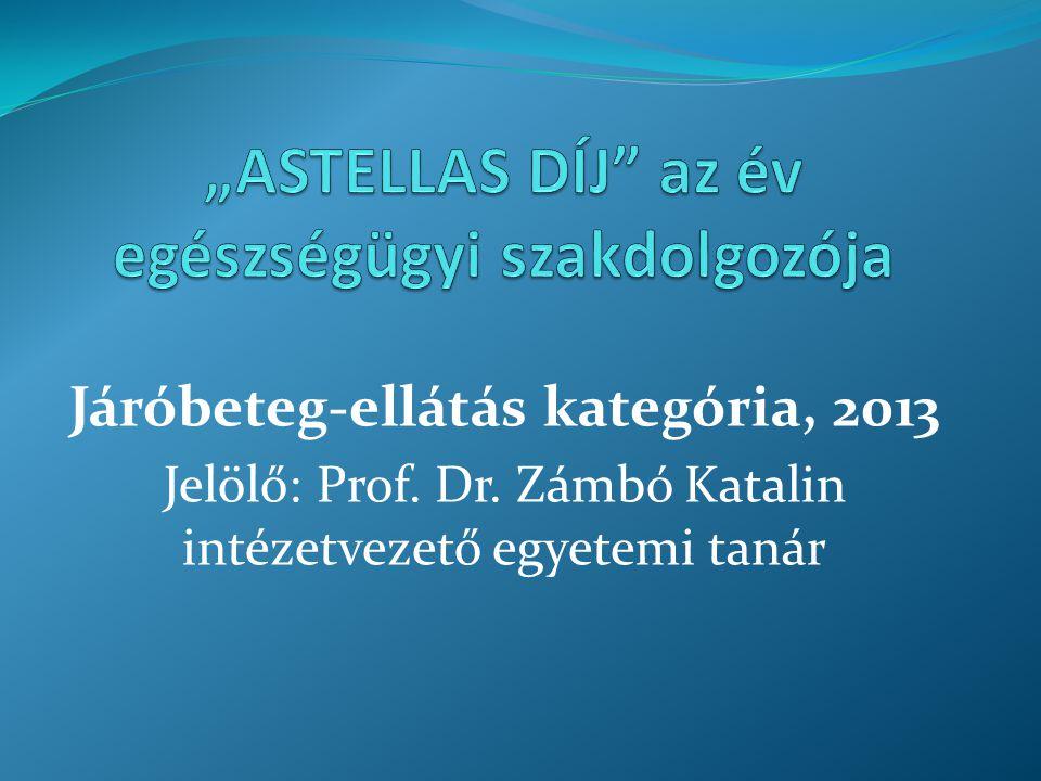 Járóbeteg-ellátás kategória, 2013 Jelölő: Prof. Dr. Zámbó Katalin intézetvezető egyetemi tanár