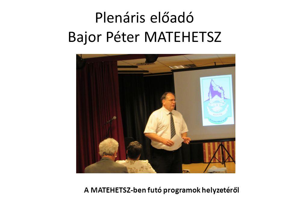 Plenáris előadó Bajor Péter MATEHETSZ A MATEHETSZ-ben futó programok helyzetéről