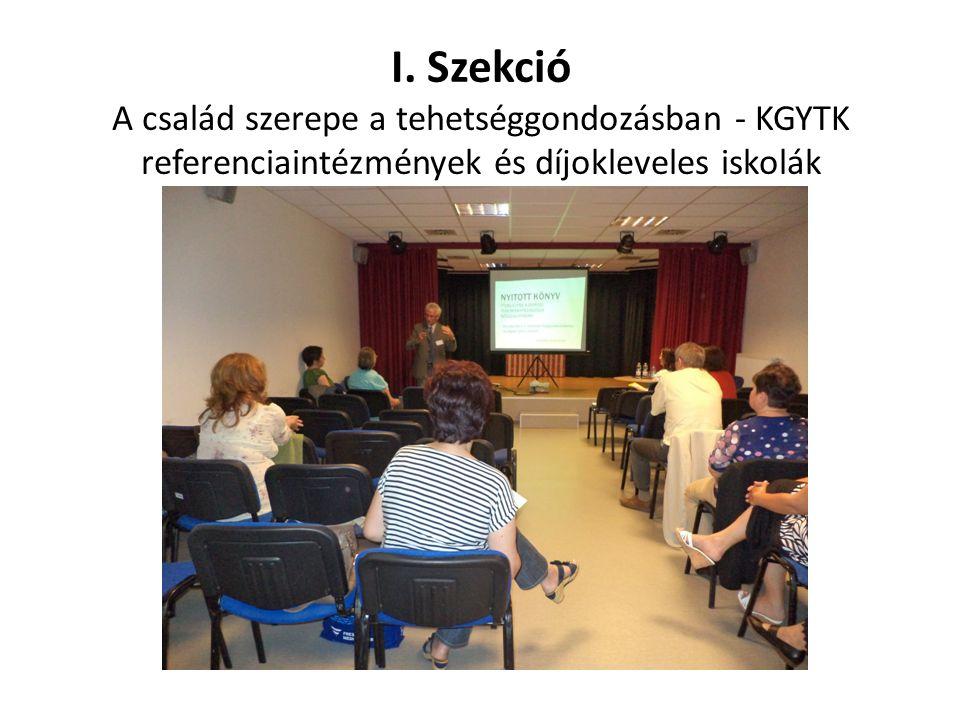 I. Szekció A család szerepe a tehetséggondozásban - KGYTK referenciaintézmények és díjokleveles iskolák