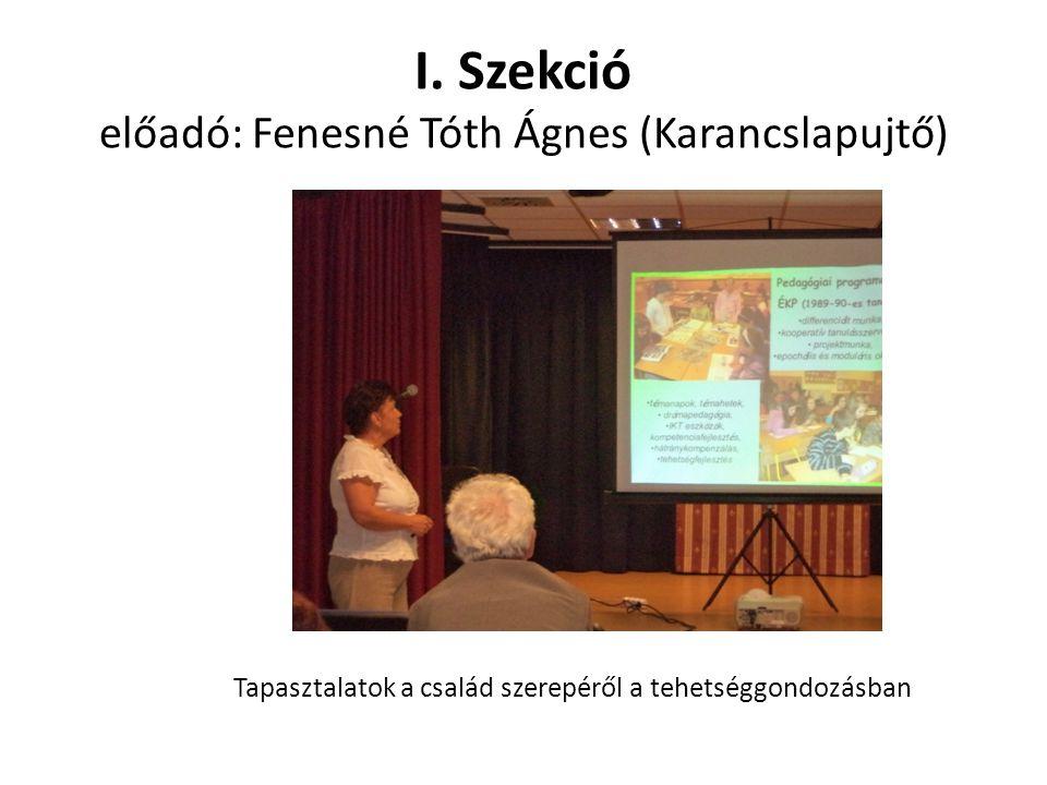 I. Szekció előadó: Fenesné Tóth Ágnes (Karancslapujtő) Tapasztalatok a család szerepéről a tehetséggondozásban