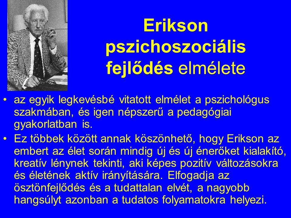 Erikson pszichoszociális fejlődés elmélete az egyik legkevésbé vitatott elmélet a pszichológus szakmában, és igen népszerű a pedagógiai gyakorlatban i
