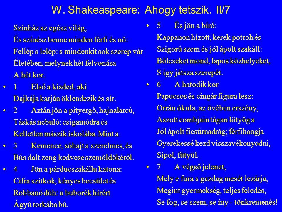 W. Shakeaspeare: Ahogy tetszik. II/7 Színház az egész világ, És színész benne minden férfi és nő: Fellép s lelép: s mindenkit sok szerep vár Életében,