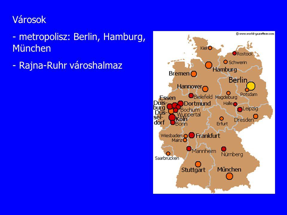 Városok - metropolisz: Berlin, Hamburg, München - Rajna-Ruhr városhalmaz