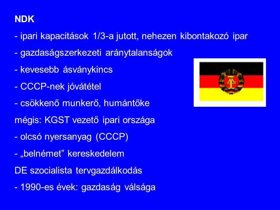 """NDK - ipari kapacitások 1/3-a jutott, nehezen kibontakozó ipar - gazdaságszerkezeti aránytalanságok - kevesebb ásványkincs - CCCP-nek jóvátétel - csökkenő munkerő, humántőke mégis: KGST vezető ipari országa - olcsó nyersanyag (CCCP) - """"belnémet kereskedelem DE szocialista tervgazdálkodás - 1990-es évek: gazdaság válsága"""