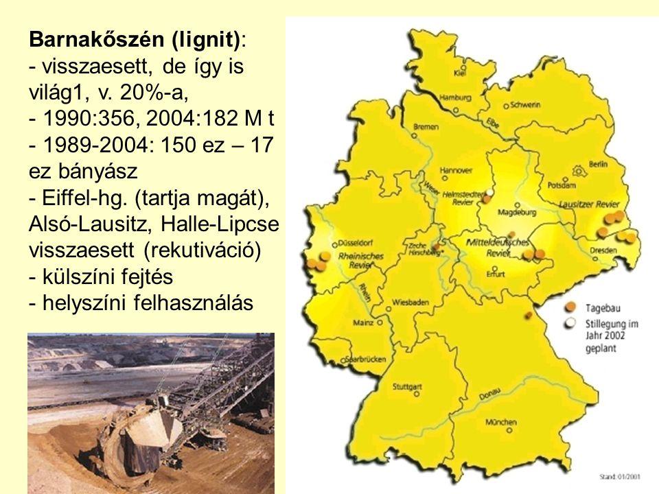 Barnakőszén (lignit): - visszaesett, de így is világ1, v.