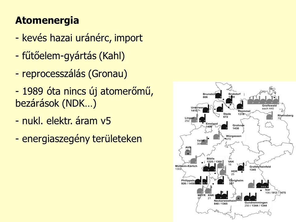 Atomenergia - kevés hazai uránérc, import - fűtőelem-gyártás (Kahl) - reprocesszálás (Gronau) - 1989 óta nincs új atomerőmű, bezárások (NDK…) - nukl.