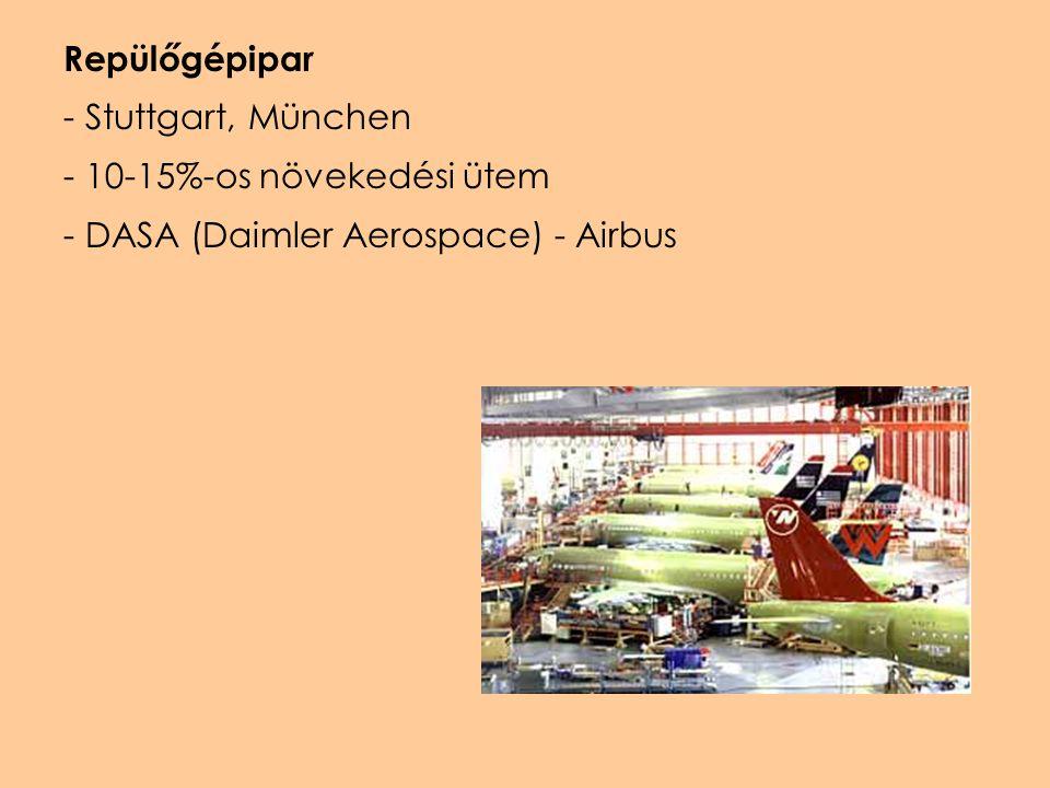Repülőgépipar - Stuttgart, München - 10-15%-os növekedési ütem - DASA (Daimler Aerospace) - Airbus